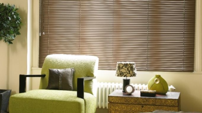 Bronze Venetian blinds in living room