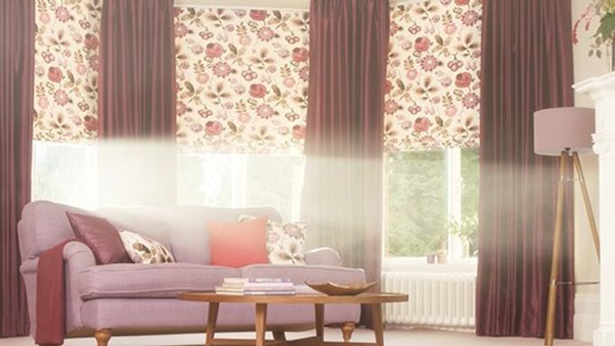 Patterned roman blind and curtain living room