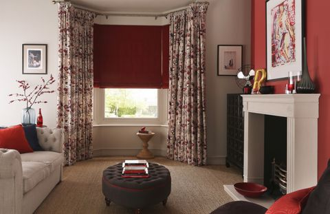 Jewel Ruby Roman blind and curtains