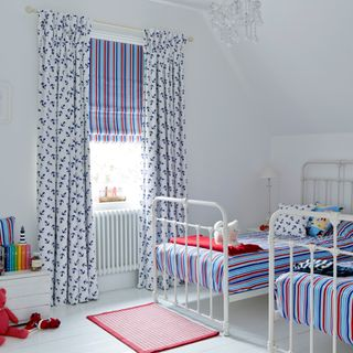 Anchors Away Navy curtains with Lollipop Red Roman blind