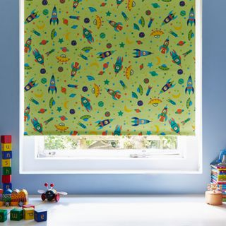 To the Moon Bright Green Blackout Roller blind