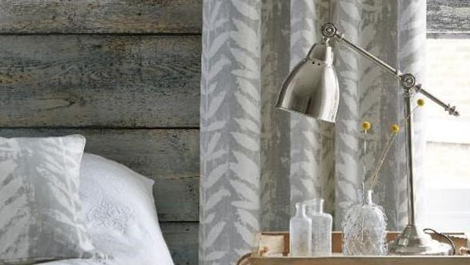 grey and white leaf print curtains
