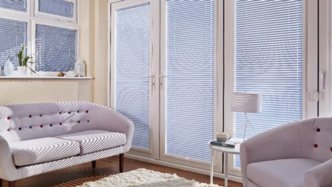 blue metallic venetian door blinds