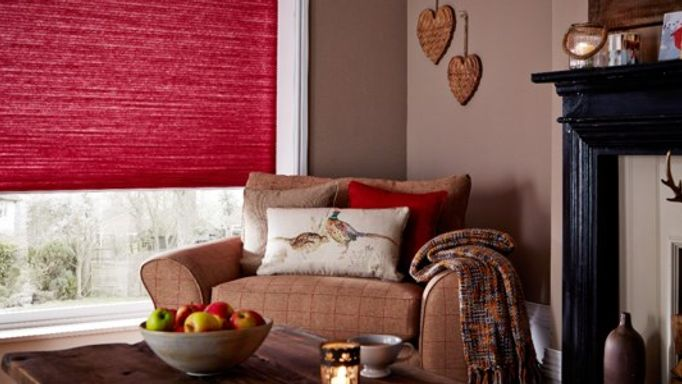 red thermashade blinds in living room