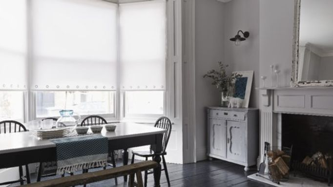 angelica white roller blinds in the dining room