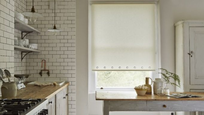 Yellow Roller blind in kitchen