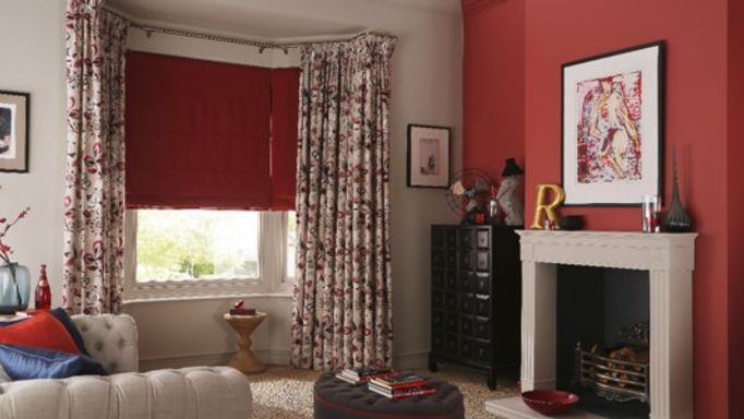 Red living room red roman blind and Bohemia Berry curtains