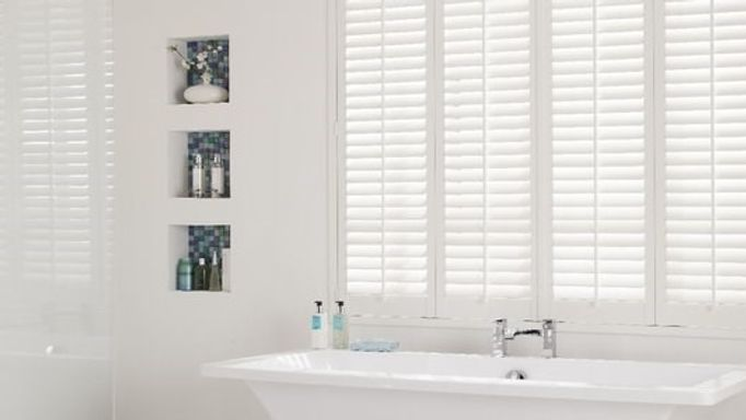 Waterproof Fauxwood Henley shutters in bathroom