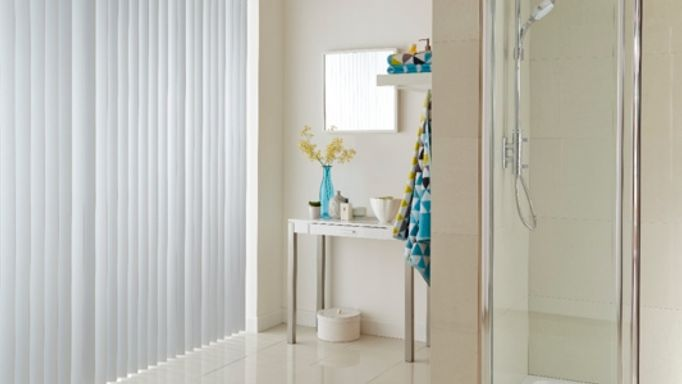 White Vertical blinds in bathroom