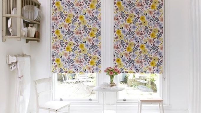 tabitha mustard floral roller blind in kitchen