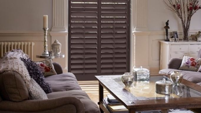 Dark living room shutters