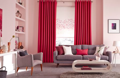 freeda-violet-roller-blind-with-bardot-fuschia-curtains-living-room