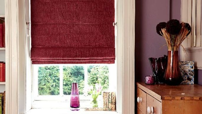 burghley red roman blinds