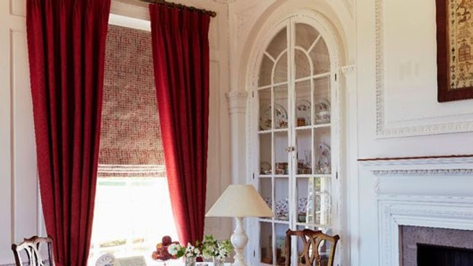 burghley curtains and patina roman blind