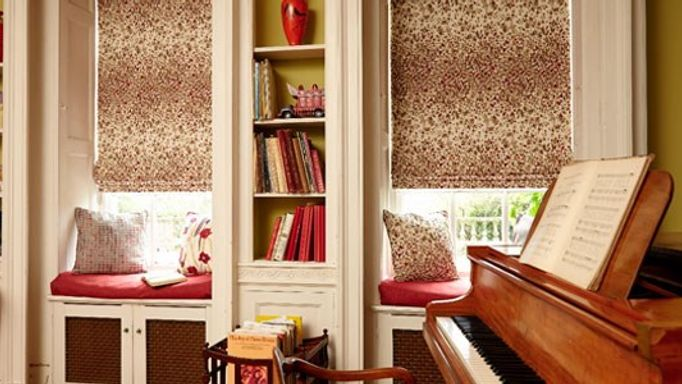 calluna patterned roman blinds