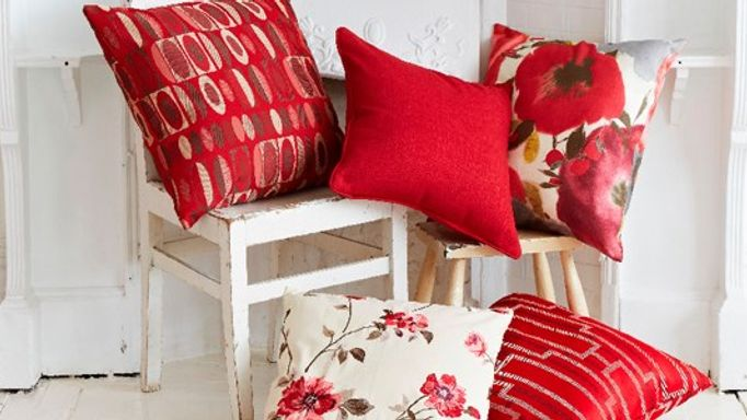 red and floral cushions
