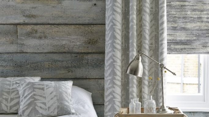 Isra Dove Grey Curtains and Riviera Dusk Roman blind