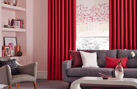 Freeda-Violet-Roller-blind-with-Bardot-Fuschia-Curtains