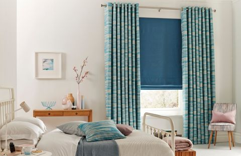 Riviera-Turquoise-Curtain-with-Bardot-Verde-Roman-blind