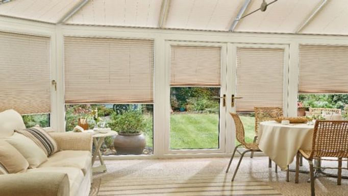 Elba-Cream-Pleated-roof-blind-with-Elba-Bisque-Pleated-side-blind