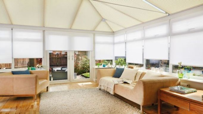 Salerno-Sand-Pleated-roof-blind-with-Suntime-Pure-White-Roller-side-blind