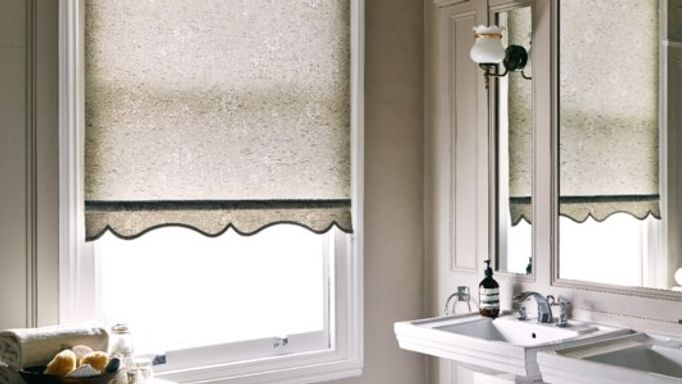 Finch Rustic Grey Roller Blind in Bathroom