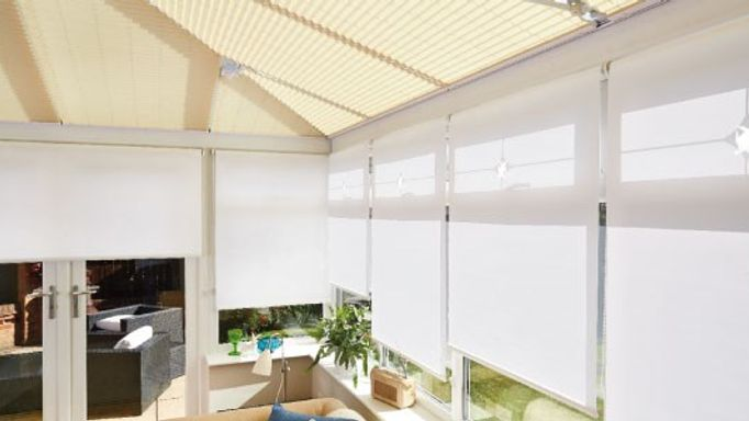 Suntime-Pure-White-Roller-blind-with-Salerno-Sand-Pleated-roof-blind