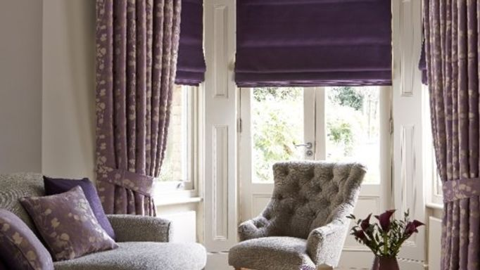 Stylish Lavender Curtains and Bardot Deep Purple Roman blind