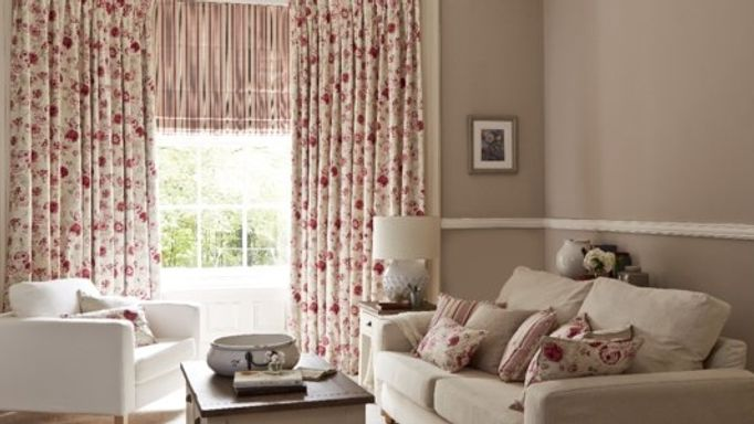 Francesca Raspberry Curtains and Hatti Raspberry Roman blind