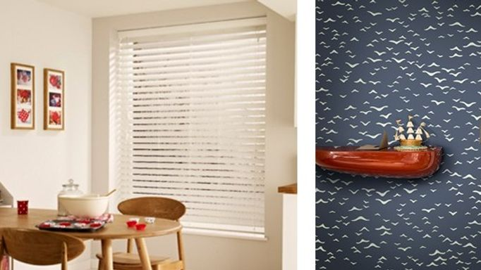 Haywood Limed White Wooden blinds paired with Farrow & Ball Yukutori BP4305 wallpaper