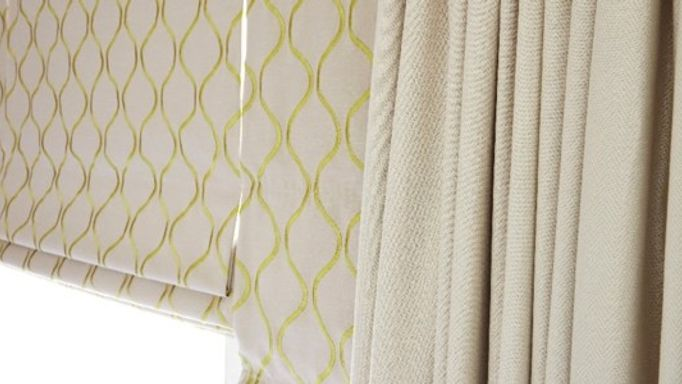 Celeste Pistachio Roman blind and Rodez Linen Curtains