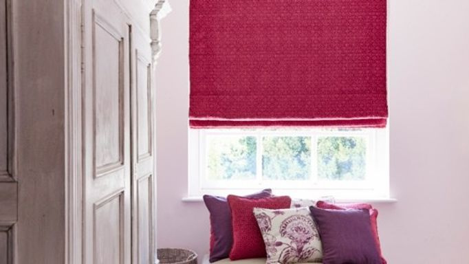 Lattice Raspberry Roman blind