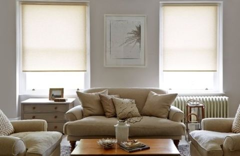 Living Room Blind Ideas - Lopez Malt Cream Roller Blind in the Living Room