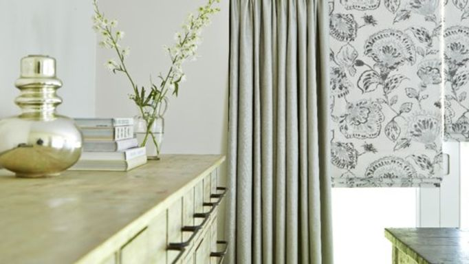 Floral Motif Roller Blind with Dove Grey Curtains