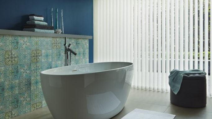 White Vertical Blind in Moroccan Bathroom
