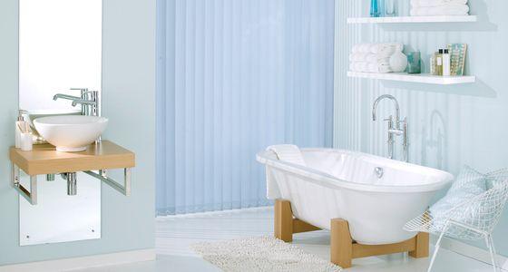 Waterproof Blinds For The Bathroom   Blue Vertical Waterproof Blinds