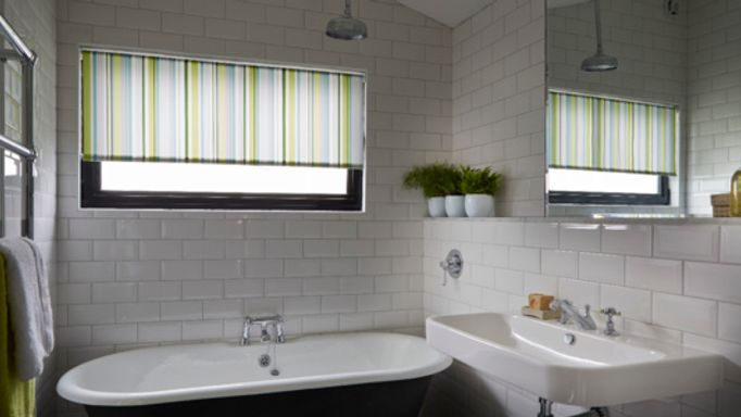 Striped Roller Blind for Bathrooms - Waterproof Bathroom Roller Blinds