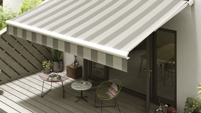Grey Striped Awning With Wind and Sun Sensors