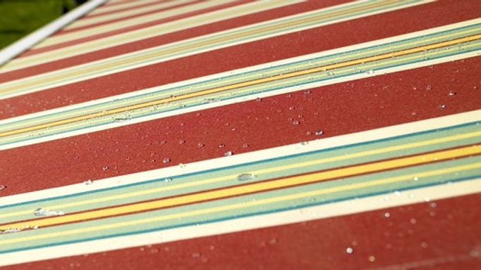 Red Striped Waterproof Awning Fabric