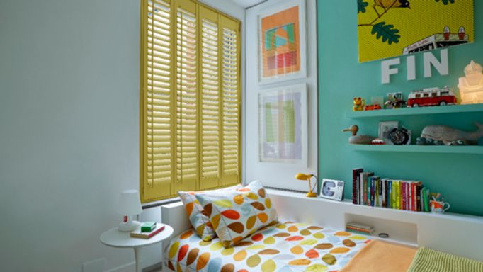 Yellow wooden shutters