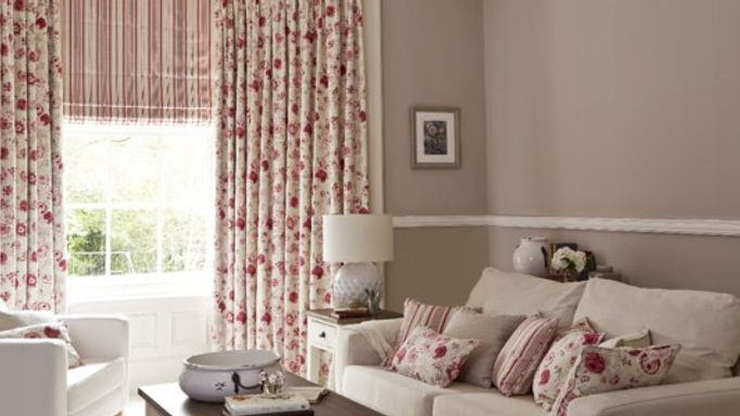 Red floral curtains