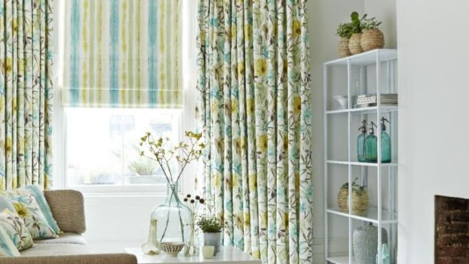 Origins Citrine Patterned Curtains With Cascade Citrine Patterned Roman Blind living room