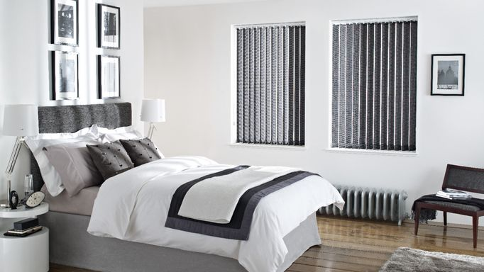 Bedroom Blind Ideas - Black Vertical Blinds in the Bedroom