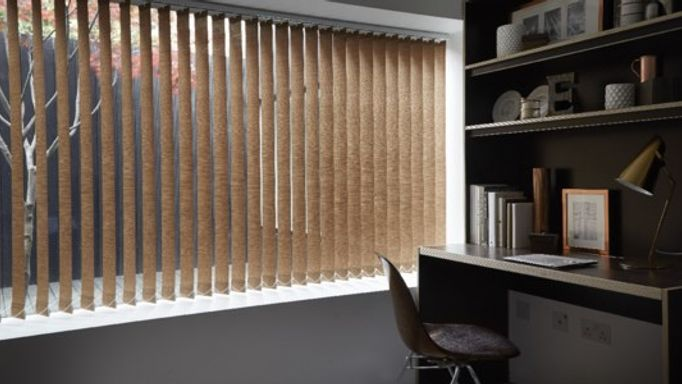 Brown Vertical Blinds In A Monochrome Room