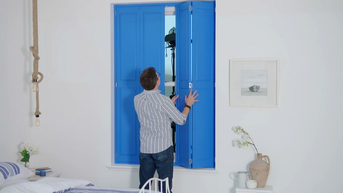 Blue bedroom shutters