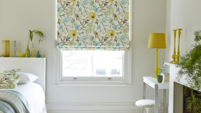 Lime Green And Lemon Yellow Floral Roman Blinds - Origins Citrine Roman Blind