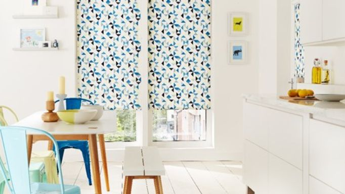 Geometric Patterned Spring Trend Roller Blind - Blue Padro Patterned Roller Blinds