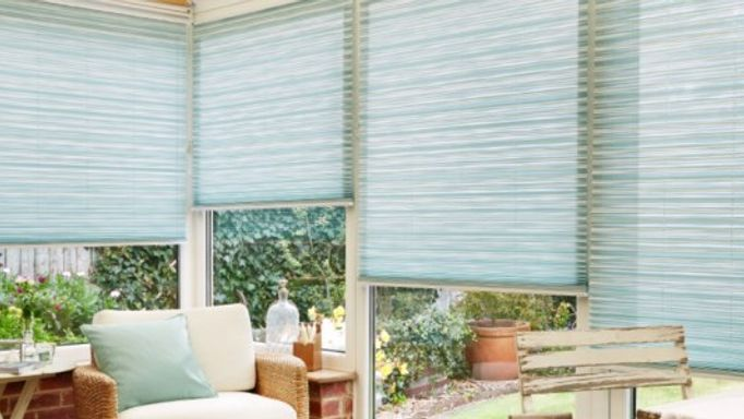 Elba Blue Pleated Blinds In Conservatory