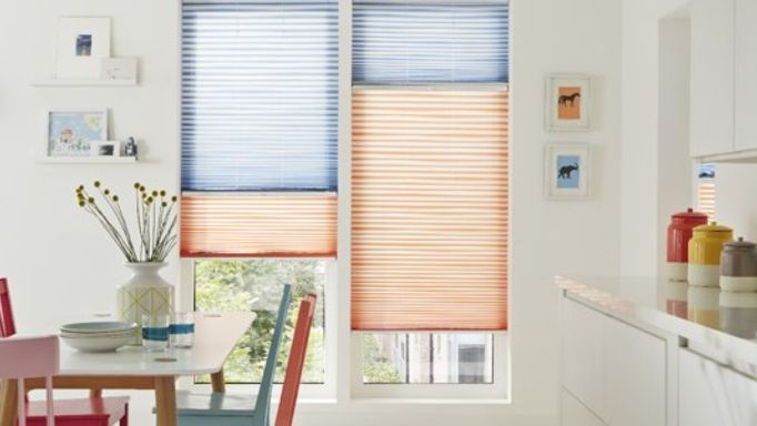 Interior Trends - Serita Coral Orange And Serita Denim Blue Pleated Blinds