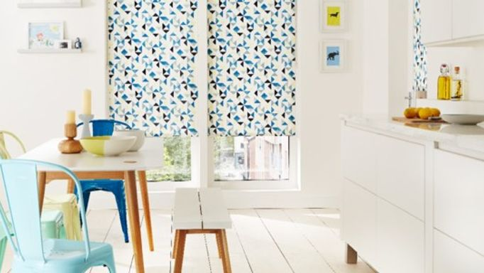 Blue Patterned Roller Blind in the Kitchen - Padro Spring Blue Patterned Roller blind